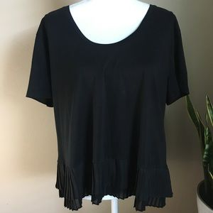 J. Crew large black Ruffle chiffon top soft scoop